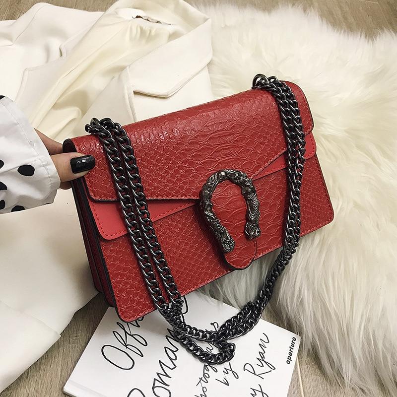 Women's Shoulder Bag 2020 New Snake Chains Leather Bag  Casual Handbag Simple Leisure Small Square Women Messenger Bag
