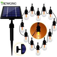 Cadena de luces solares Edison de 48 pies, lámpara colgante para patio, cafetería, Navidad, decoración para exteriores, color blanco cálido, 12 bombillas