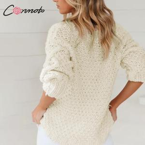 Image 2 - Conmoto blanc balle diamant haute couture pull pull femmes lâche chandails tricotés dames automne hiver pull pull