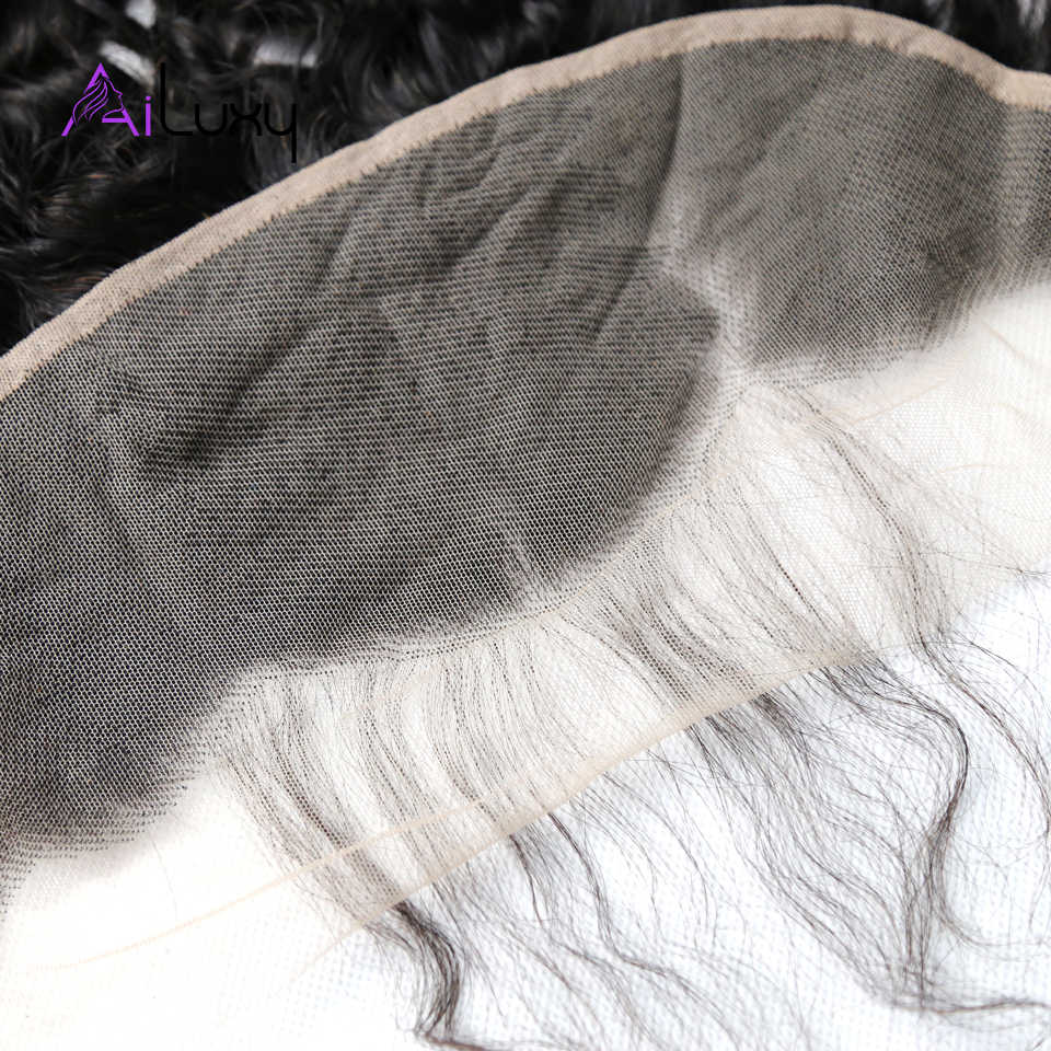 Ailuxy OneCut cabello peruano cabello virgen suizo transparente encaje Frontal onda profunda medio marrón encaje Frontal 13x4 100% cabello humano