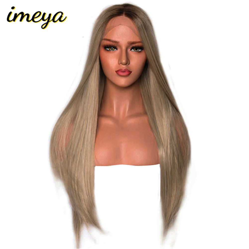 Imeya Synthetic Lace Front Wigs For Black Women Blonde Lace Front Wig Ombre Heat Resistant Long Straight Hair Wigs