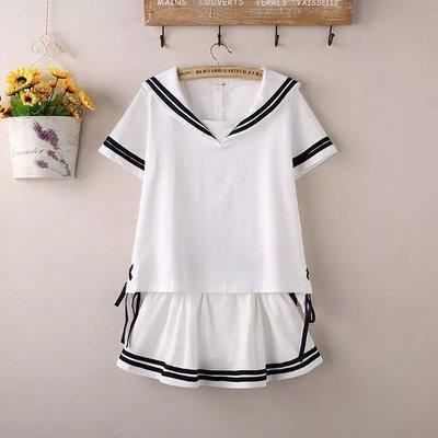 Japanese Korean Hipster School Uniform Short Sleeve T-shirt Versatile Culottes Sailor Suit Navy Style Set College Students Women