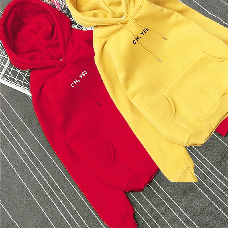"2019 Letter Print ""Oh Yes"" Autumn Winter Sweatshirt Womens hoodies long-sleeved fleece sweatshirt Harajuku wind Casual Coat"