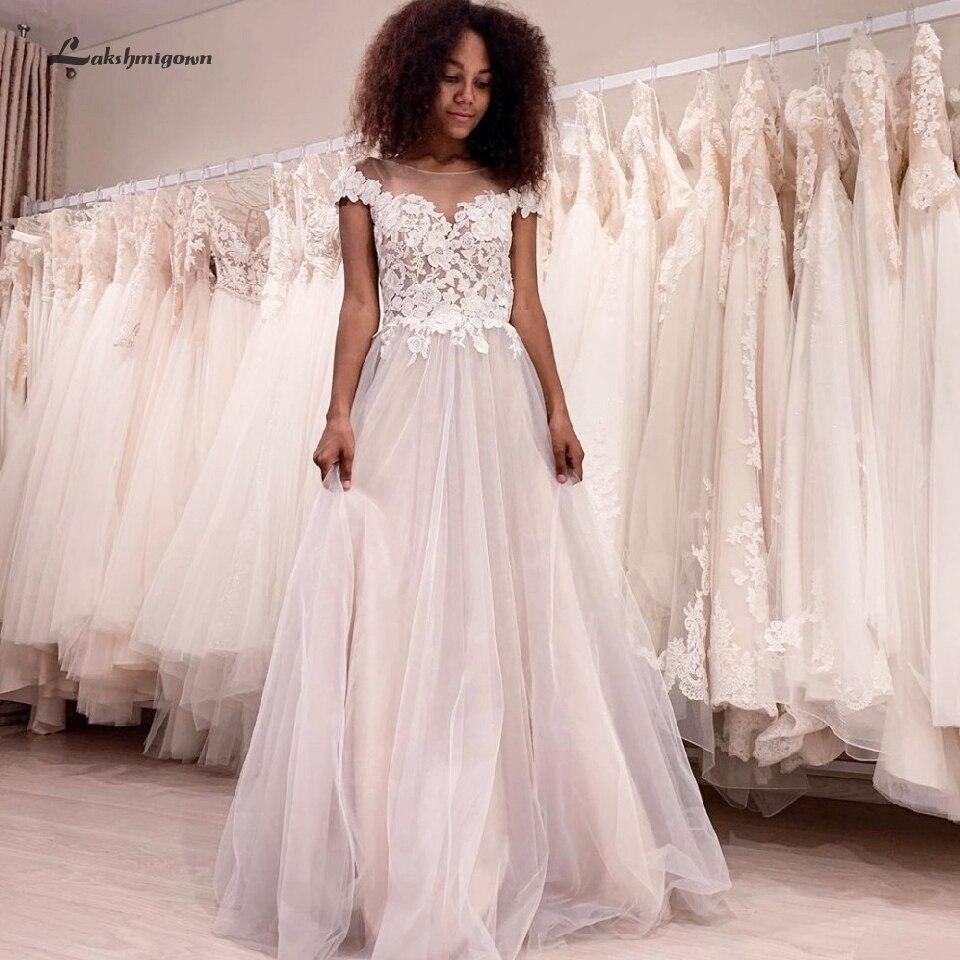 Lakshmigown Beach Wedding Dress Plus Size Vintage Lace Applique A Line Bridal Wedding Gowns Cap Sleeves Robe De Mariage 2019