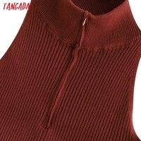 Tangada Fashion Women Solid Elegant Sweater Dress Sleeveless Zipper Ladies Warm Midi Dress QW47 2