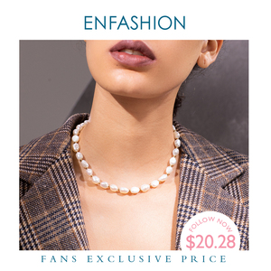 Image 1 - ENFASHION Natural Pearl Choker Necklace Women Gold Color Stainless Steel Irregular Pearl Necklace Fashion Femme Jewelry P193050