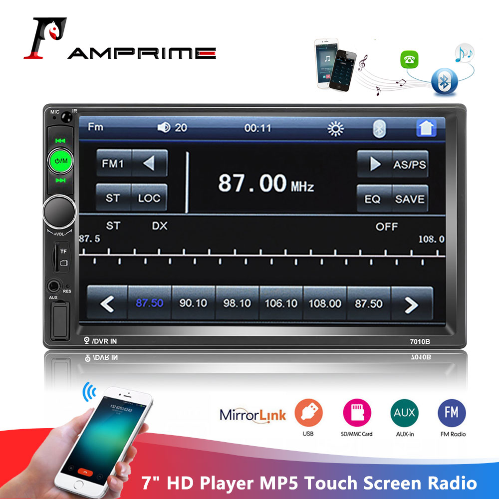 AMPrime 2din Car Radio 7 HD Player MP5 Touch Screen Digital Display Bluetooth Multimedia Autoradio Mirror Link FM Media Stereo image