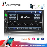 AMPrime 2din Car Radio 7 HD Player MP5 Touch Screen Digital Display Bluetooth Multimedia Autoradio Mirror Link FM Media Stereo