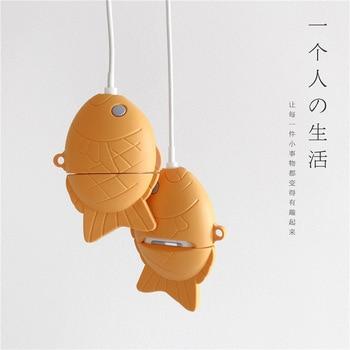 De silicona suave protector de dibujos animados de pescado para los Airpods inalámbrico auriculares Bluetooth con carcasa para Apple aire cápsulas