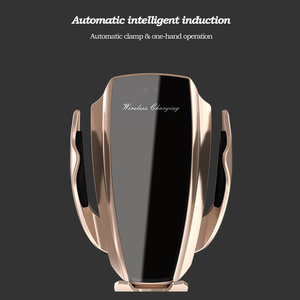 Image 2 - 自動クランプ 10 ワット車のワイヤレス充電器 iphone xs huawei 社 lg 赤外線誘導チーワイヤレス充電器自動車電話ホルダー