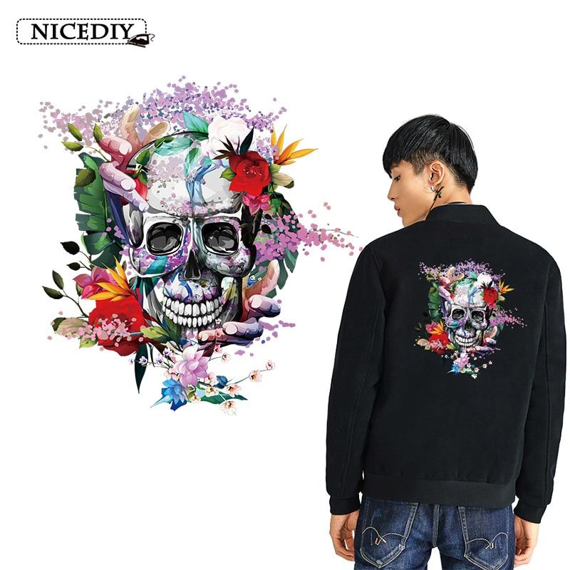 Nicediy DIY Flower Skull Applique On Clothes Stickers Heat Transfer Vinyl Sticker Stripe Hippie Cool Patch Badge Decor Washable