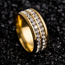 Luxury women Classic Silmple Carbide rings Fashion men Double Rows Rhinestones Titanium Steel Wedding Jewelry Ring