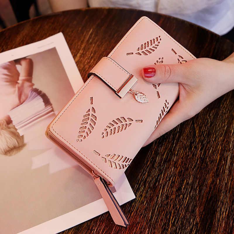 المرأة المحفظة محفظة جلدية PU الإناث محفظة طويلة الذهب الجوف يترك الحقيبة حقيبة يد للنساء محفظة نسائية للعملات المعدنية حاملي بطاقة مخلب