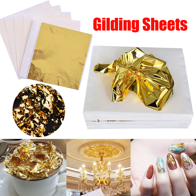 100Sheets Gold//Sliver//Copper Leaf Leaves Foil Paper Edible Gilding Craft Decor