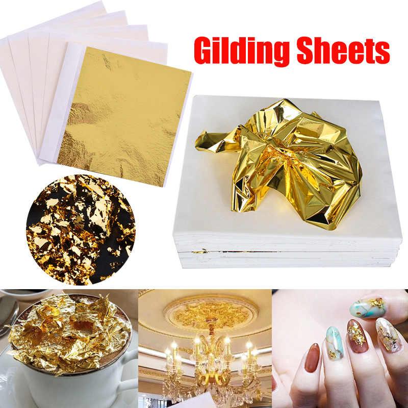 Gold Silver Foil Art Craft Paper Leaf Leaves Sheets For Gilding DIY Nails Flakes