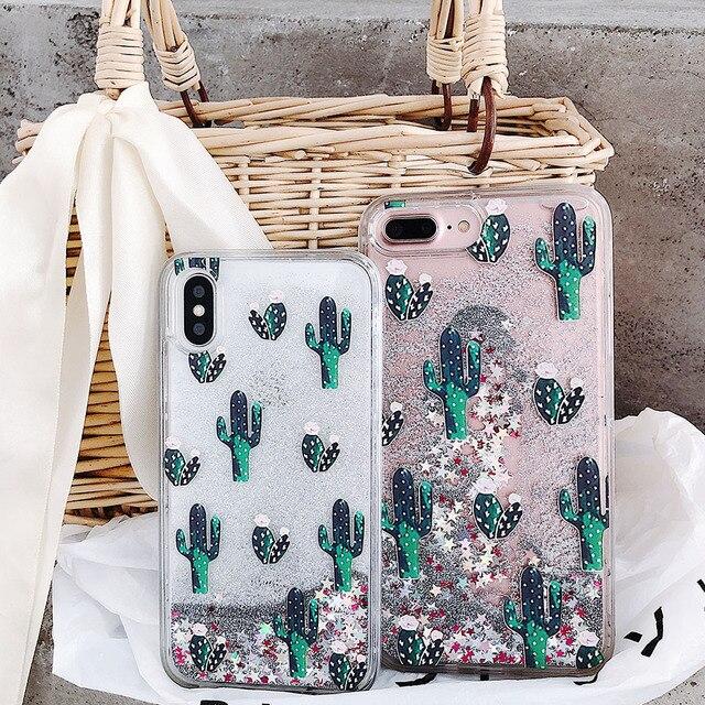 สีเขียว Botany รูปแบบแคคตัส Liquid quicksand Case โทรศัพท์สำหรับ iPhone 11 Lot PRO MAX x XR XS 8 7 6 6 S PLUS silversand โปร่งใส