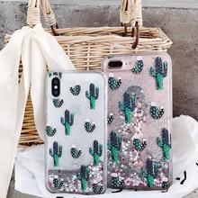 Groene Plantkunde Cactus Patroon Liquid Quicksand Telefoon Case Voor Iphone 11 Lot Pro Max X Xr Xs 8 7 6 6 S Plus Silversand Transparant