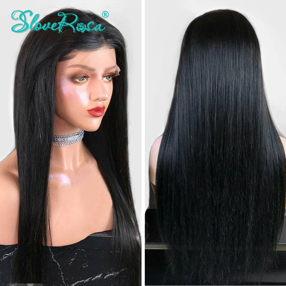 Image 5 - 130% Density Straight 13X4 Lace Front Human Hair Wigs For Black Women Brazilian Remy Hair Pre Plucked Bleached Knot Slove Rosa-in Human Hair Lace Wigs from Hair Extensions & Wigs