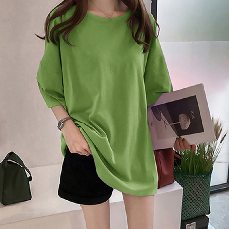 Pure color medium long T-shirt summer Short Sleeved Women 2020 Korean leisure large size loose-fitting college style women