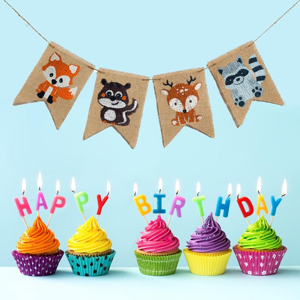 Fox Bunting Nursery Baby shower Party cute decoration Fabric Handmade