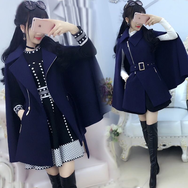 Spring And Autumn Women Coats Dark Blue British Zip Cloak Woolen Coat Women Winter Thick New Slim Handsome Cloak