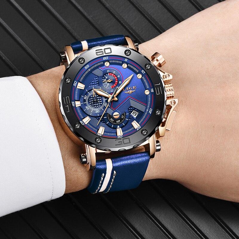 2020 LIGE Mens Watches Top Brand Luxury Fashion Military Quartz Watch Men Leather Waterproof Sport Chronograph Relogio Masculino 5