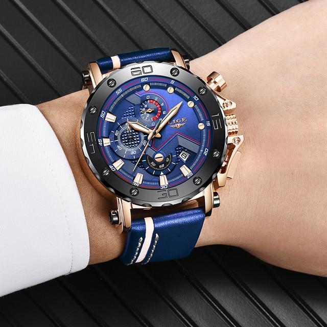 2020 LIGE Mens Luxury Fashion Leather Waterproof Sport Chronograph Watch 5