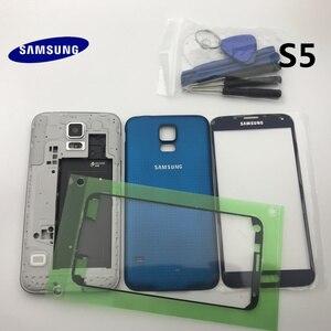 Image 3 - Oryginalna pełna obudowa tylna pokrywa przednia do szkła ekranu i soczewek + środkowa ramka do części Samsung Galaxy S5 G900 G900F I9600