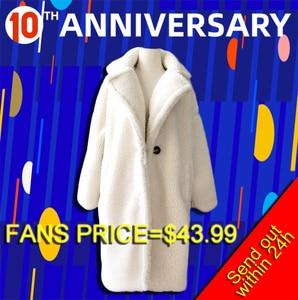 Image 2 - Winter Overcoat Women Faux Fur Coat Luxury Long Fur Coat teddy Jacket Loose Lapel Shaggy Coat Plus Winter Thick Warm Fluffy