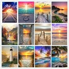 Diy pintura diamante paisagem pôr do sol mar kit broca completa 5d bordado pintura imagem da arte de strass decoração casa presente
