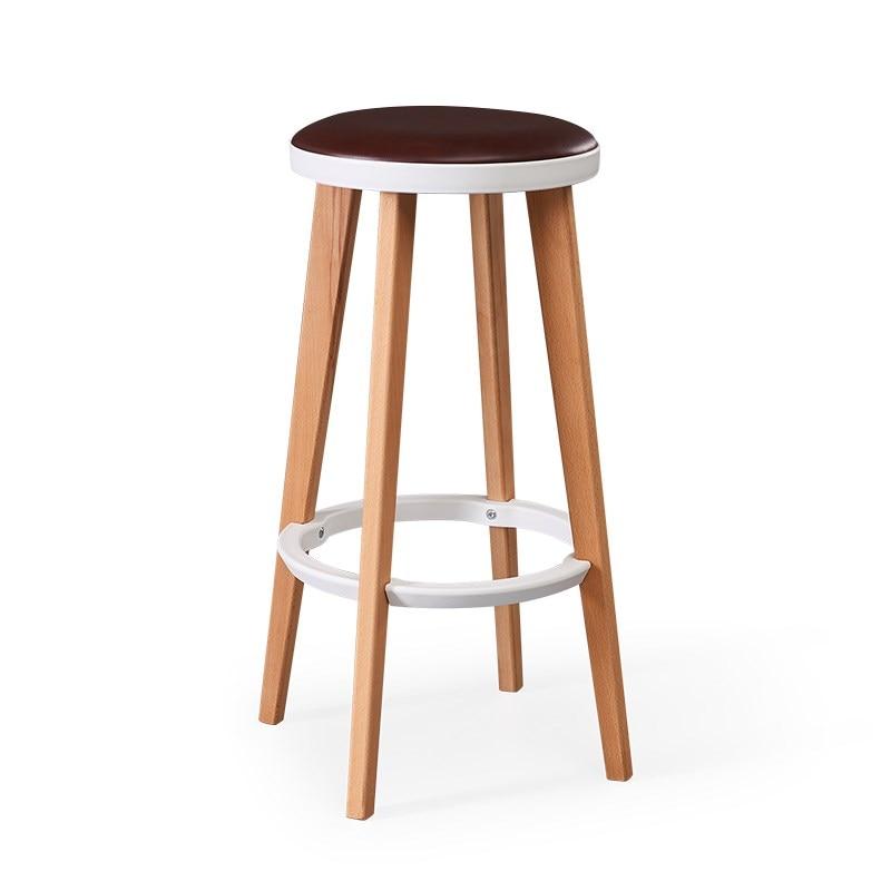 Wooden High Bar Stool Nordic Home Simple Bar Chair Solid Wood Creative Bar Stool Leisure Bar Chair