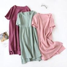 Camisón de gasa de algodón para mujer, ropa de dormir cómoda de color sólido, larga, para el hogar, de cuello redondo, sección fina