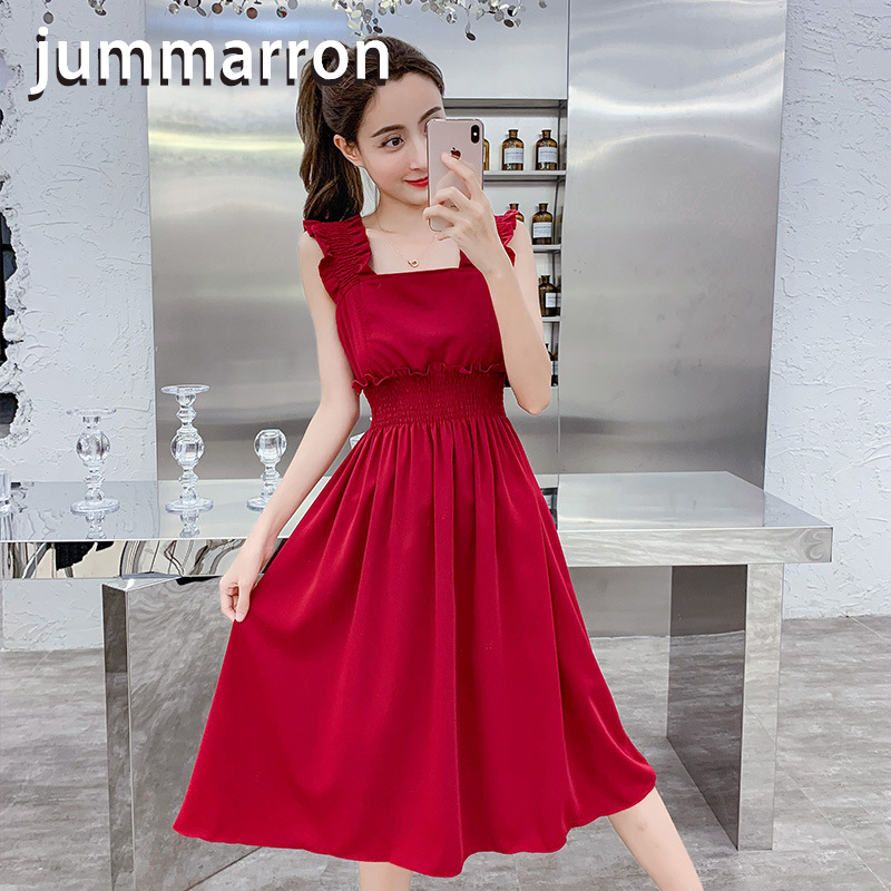jummarron 2020 summer red <font><b>dress</b></font> black <font><b>dresses</b></font> ladies sweet new condole belt sexy <font><b>dress</b></font> shoulder sleeveless plus size women <font><b>dress</b></font> image