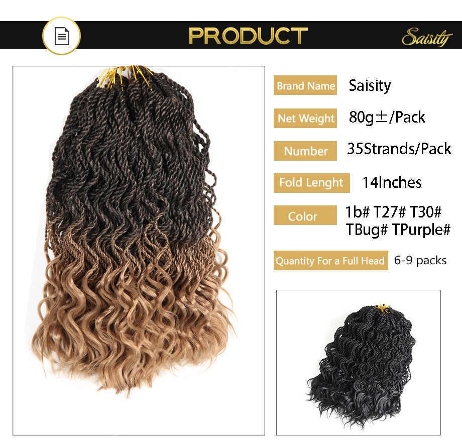 "Saisity 14 ""35 hebras/Paquete de extensiones de cabello de ganchillo sintético senegalese twist trenzado cabello extremos de ganchillo pelo jumbo"
