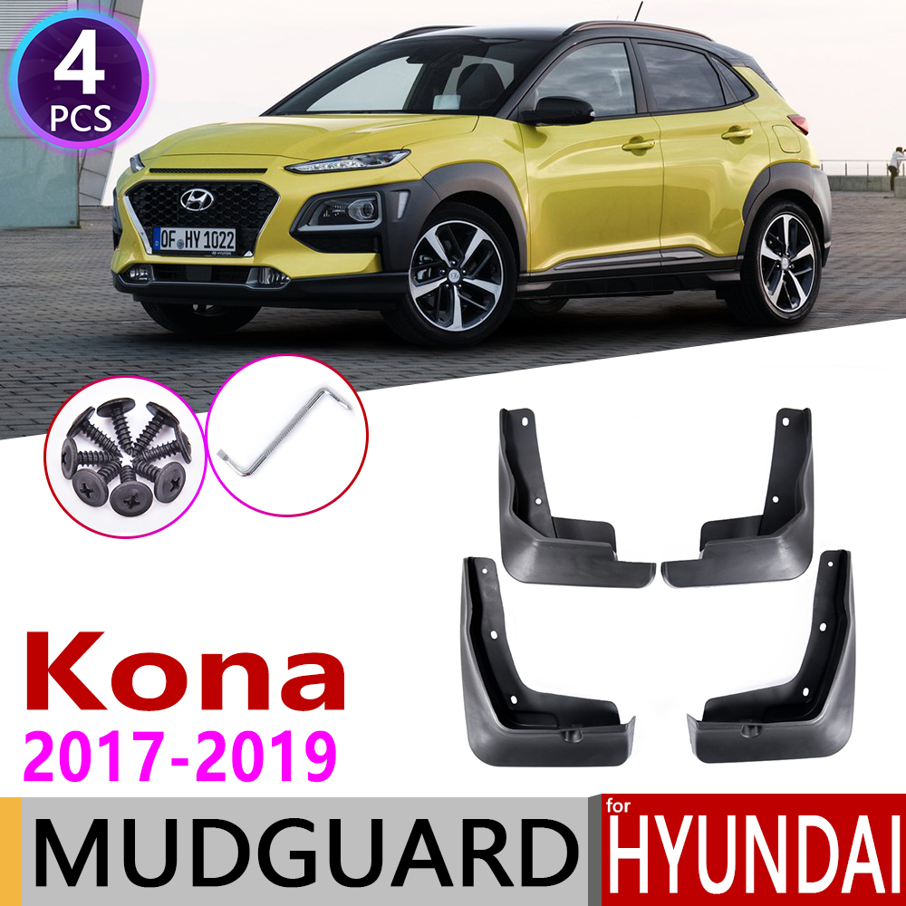 4 PCS Front Rear Car Mudflaps For Hyundai Kona Kauai 2017 2018 2019 Fender Mud Guard Flap Splash Flaps Mudguards Accessories