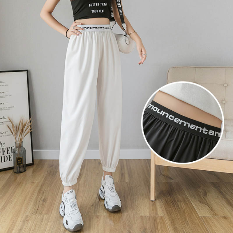 Korean Style Women Sweatpants Cargo Pants Office White Loose Trousers Pantalones Anchos Mujer Aesthetic Streetwear Hosen Damen