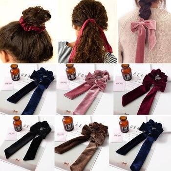 Velvet Scrunchie Ribbon Bow Hair Rope Tie Hairbands Elastic Hair Bands Ponytail Holder For Women Girls Hair Accessories Headband цена 2017