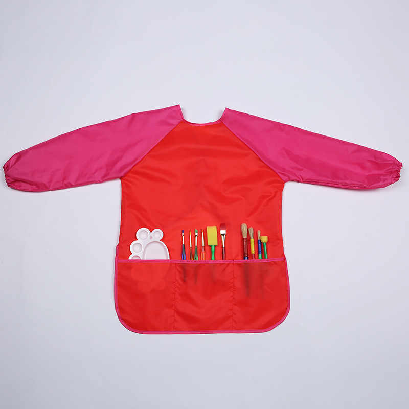 Bandana Oto Bayi Lap Tahan Air Bayi Makan Anak-anak Menggambar Lengan Panjang Celemek Bayi Self Feeding Bib