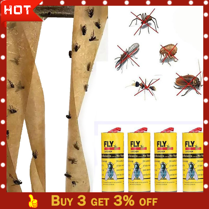 Fly Glue 2019TOP 4 Rolls Sticky Fly Paper Eliminate Flies Insect Bug Glue Paper Catcher Trap G90703