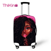 Thikin Afro American Girl Oil Painting Travel Luggage Cover for School Trunk Suitcase Protective Bag Protector