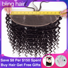 Bling Hair Brazilian Deep Wave Closure 13*4 Lace Frontal with Baby Hair Free Part 100% Remy Human Hair Closure Natural Color