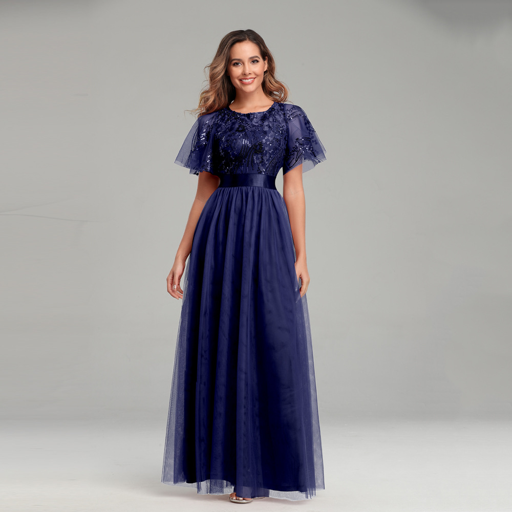 Beauty-Emily 2020 O Neck Ruffles Evening Dresses Long Sequins Elegant Formal Gowns Party Prom Dress Pleated Tulle robe de soiree