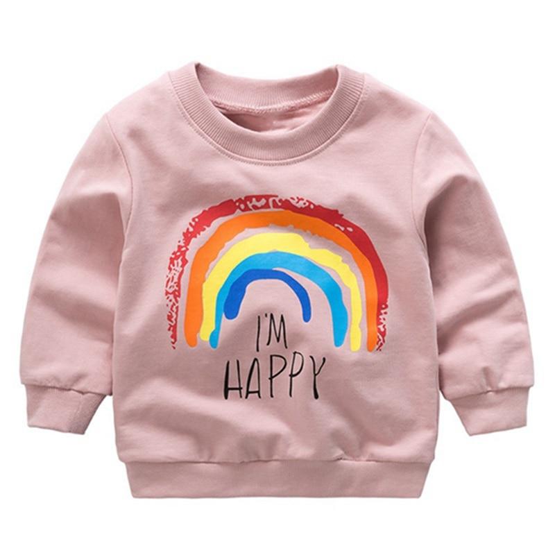 Newborn Boy Girls Sweatshirts Autumn Baby Kid Rainbow Printed T-shirt Children Baby Long Sleeve Casual T-Shirts Tops Infant Wear