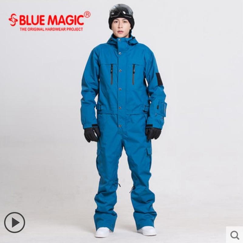 Синий волшебный водонепроницаемый Сноубординг цельный лыжный комбинезон для мужчин сноуборд-30 градусов лыжный костюм зимняя одежда комбинезон - Цвет: deep blue