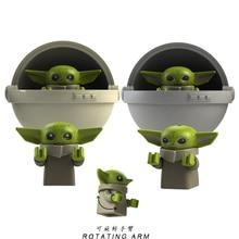 Yoda Baby with Baby Cot Mandalorian Knights of Ren Master Yoda Rey Darth Vader Buliding Blocks figures Kids Toys KT1039