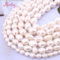 5-7,9-10,10-11mm Freshwater Pearl White Freeform Loose Natural Stone Beads For DIY Necklace Bracelet Jewelry Making Strand 15