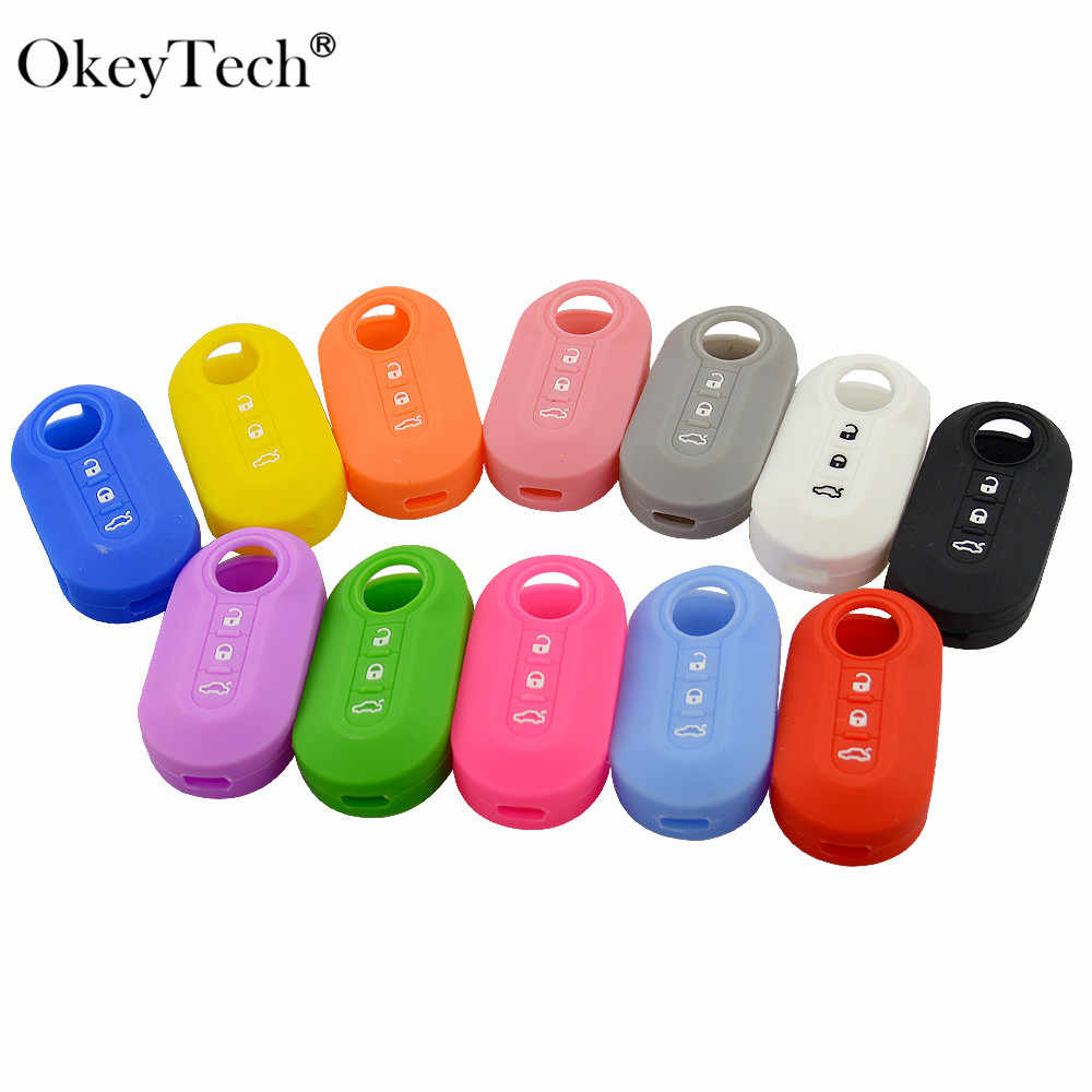 OkeyTech High Quality 3 Buttons Silicone Car Key Case Cover For Fiat 500 Flip Folding Remote Key Shell Fob Protecor