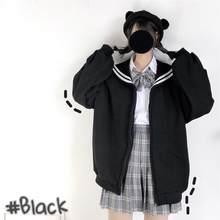 Qweek kawaii preto zip up hoodie feminino gola de marinheiro camisola streetwear japonês macio menina 2021 moda camisola de grandes dimensões