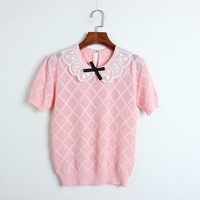 2019 New Short Sleeve T Shirt Lace Neck Bow Stitching Hollow Out Knitted Women