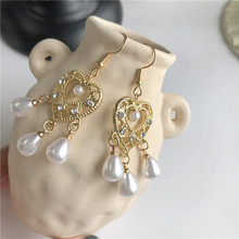 Wind restoring ancient ways love pearl baroque palace fashion sense of senior earrings contracted earring female temperament